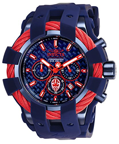 Invicta Men's 'Marvel' Quartz Stainless Steel and Silicone Fashion Watch, Color:Blue (Model: 26008)