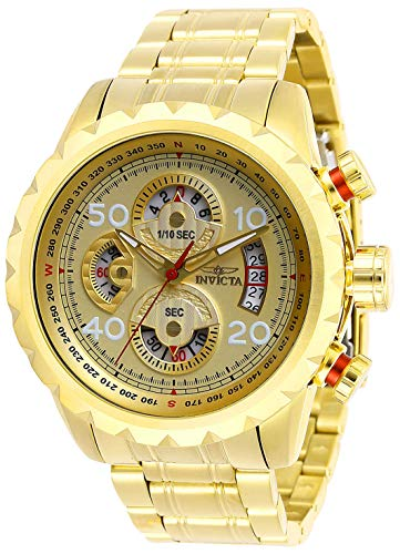Invicta Men's Aviator Analog Quartz Watch with Stainless Steel Strap, Gold, 24 (Model: 28161)