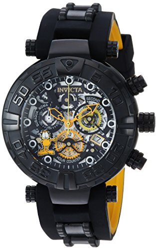 Invicta Men's 'Garfield' Quartz Stainless Steel and Silicone Casual Watch, Color:Black (Model: 24880)