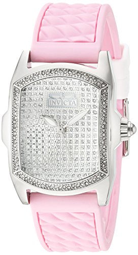 Invicta Women's 'Lupah' Quartz Stainless Steel and Silicone Casual Watch, Color:Pink (Model: 22117)
