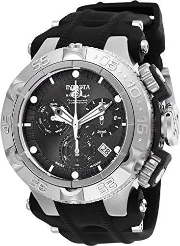 Invicta Men's 'Subaqua' Quartz Stainless Steel and Silicone Watch, Color:Black (Model: 25348)