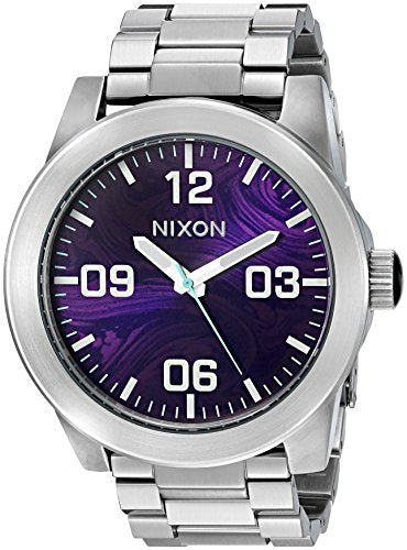 Nixon Men's 'Corporal SS, Purple' Quartz Stainless Steel Watch, Color:Silver-Toned (Model: A346-230-00)