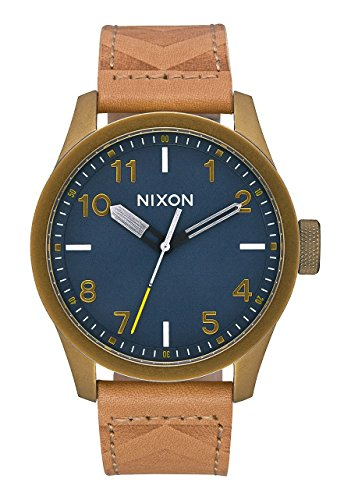 Nixon Safari Leather Watch Brass Navy Hickory plus Origami Watch Sleeve