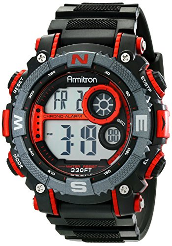 Armitron Sport Men's 40/8284RED Large Metallic Red Accented Black Resin Strap Chronograph Digital Watch