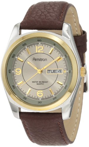 Armitron Men's 20/1925GYBN Round Two-Tone Brown Leather Strap Watch