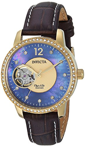 Invicta Women's 'Objet D Art' Automatic Gold-Tone and Leather Casual Watch, Color:Brown (Model: 22621)