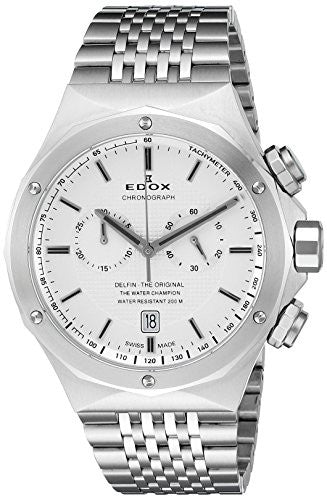 Edox Men's 10108 3 AIN Delfin Analog Display Swiss Quartz Silver Watch