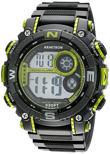 Armitron Men's 40/8284LGN Lime Green Accented Digital Chronograph Black Resin Strap Watch