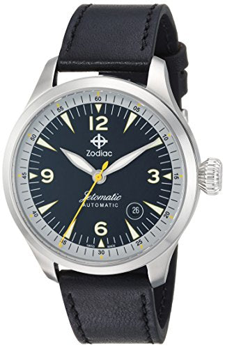 Zodiac Men's 'Jetomatic' Swiss Automatic Stainless Steel and Leather Casual Watch, Color:Black (Model: ZO9106)