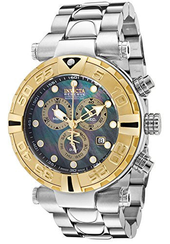 Invicta Men's Subaqua Chronograph Stainless Steel Black Mother of Pearl Dial Gold-Tone Bezel