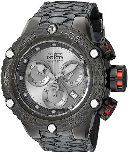 Invicta Men's 'Subaqua' Quartz Stainless Steel and Leather Casual Watch, Color:Black (Model: 25070)