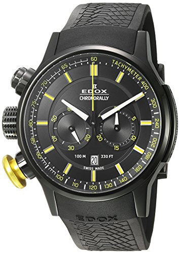 Edox Men's 'Chronorally' Swiss Quartz Stainless Steel and Rubber Sport Watch, Color:Black (Model: 10302 37NJ NOJ3)