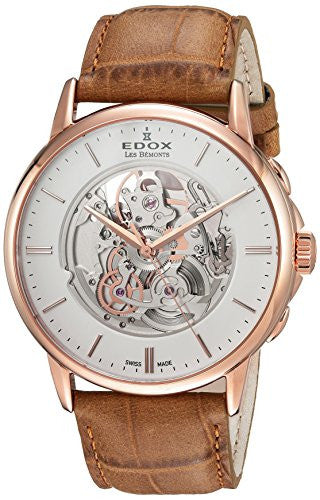 Edox Men's 'Les Bemonts' Swiss Automatic Stainless Steel and Leather Dress Watch, Color:Brown (Model: 85300 37R AIR)