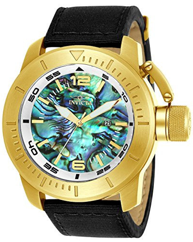 Invicta Men's 'Corduba' Quartz Gold-Tone and Nylon Casual Watch, Color:Black (Model: 23439)