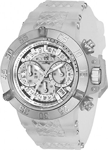 Invicta Women's 'Subaqua' Quartz Stainless Steel and Silicone Casual Watch, Color:White (Model: 24372)