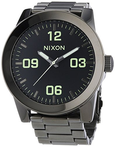 Nixon A346-1885 Mens Corporal SS Polished Gunmetal Lum Watch