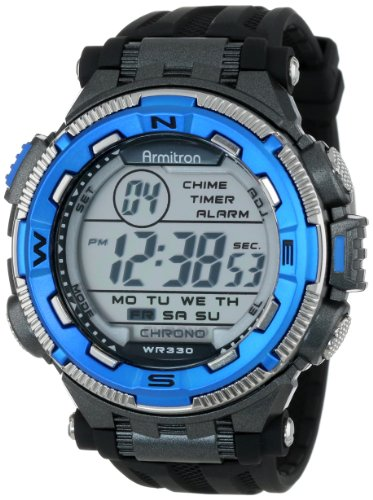 Armitron Sport Men's 40/8301BLU Blue and Silver-Tone Accented Black Resin Strap Chronograph Digital Watch