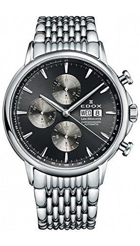 Edox Men's 01120 3M GIN Les Bemonts Analog Display Swiss Automatic Silver Watch