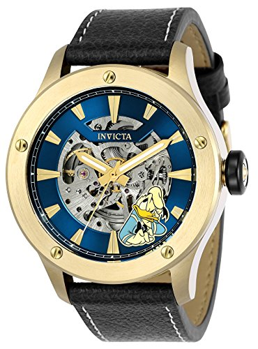 Invicta Men's Automatic Stainless Steel and Leather Casual Watch, Color:Black (Model: 24959)