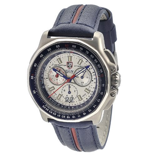 Luminox Men's 9273 F-22 Raptor 9200 Series Analog Quartz Blue with Red Stripe Leather Watch