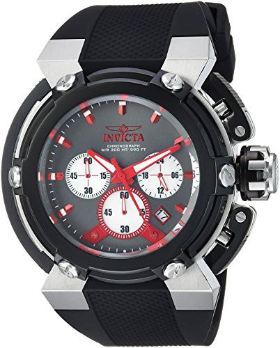 Invicta Men's 'Coalition Forces' Quartz Stainless Steel and Silicone Casual Watch, Color:Black (Model: 22442)