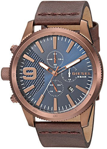Diesel Men's 'Rasp Chrono 46' Quartz Stainless Steel and Leather Casual Watch, Color:Brown (Model: DZ4455)