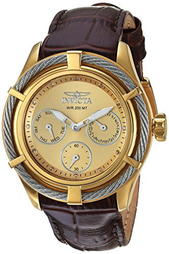 Invicta Women's 'Bolt' Quartz Stainless Steel and Leather Casual Watch, Color:Brown (Model: 24458)