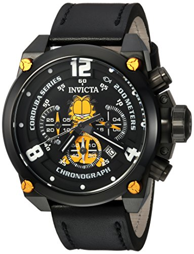 Invicta Men's 'Character Collection' Quartz Stainless Steel and Leather Casual Watch, Color:Black (Model: 24888)