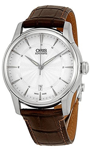 Oris Artelier Date Automatic Stainless Steel Mens Strap Watch Silver Dial Date 733-7670-4051-LS