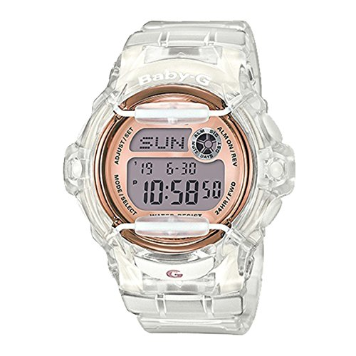 Casio Baby-G BG169G-7B Face Protector Ion-Plated Metal White Rose Gold Watch Digital
