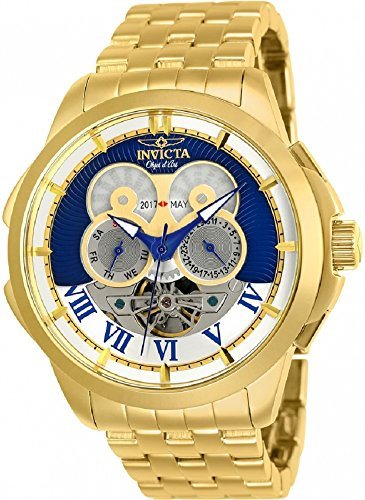 25581 - INVICTA Objet D Art Men 48mm Stainless Steel Gold Blue+Silver dial TY2503 Automatic