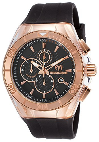 Technomarine Men's 'Cruise Star' Quartz Stainless Steel and Silicone Casual Watch, Color:Black (Model: TM-115037)