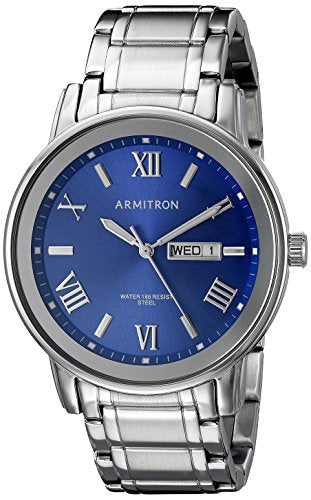 Armitron Men's 20/4935BLSV Day/Date Function Silver-Tone Bracelet Watch