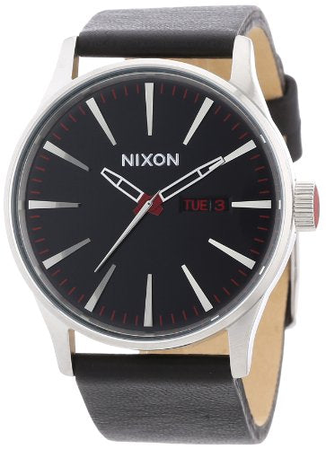 Nixon Sentry Leather Black Band Stainless Steel Case Men's Watch A105-000