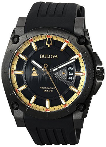 Bulova Men's 'Grammy' Quartz Stainless Steel and Silicone Casual Watch, Color:Black (Model: 98B294)