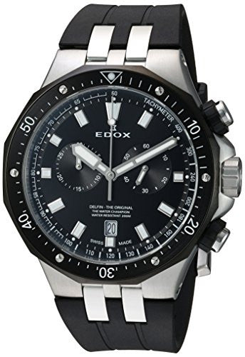 Edox Men's 'Delfin' Quartz Stainless Steel and Rubber Dress Watch, Color:Black (Model: 10109 357NCA NIN)