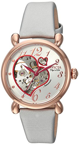 Invicta Women's 'Objet D Art' Automatic Stainless Steel and Satin Casual Watch, Color:Silver-Toned (Model: 22648)