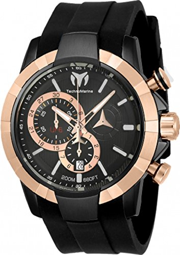 Technomarine Men's 'UF6' Quartz Stainless Steel and Silicone Casual Watch, Color:Black (Model: TM-615014)