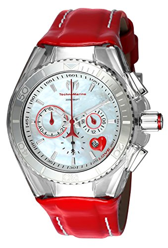 Technomarine Women's 'Cruise' Quartz Stainless Steel and Leather Casual Watch, Color:red (Model: TM-115312)