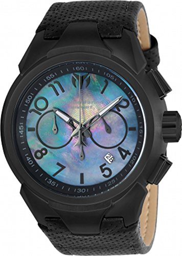 Technomarine Men's 'Sea' Quartz Stainless Steel and Leather Casual Watch, Color:Black (Model: TM-715028)