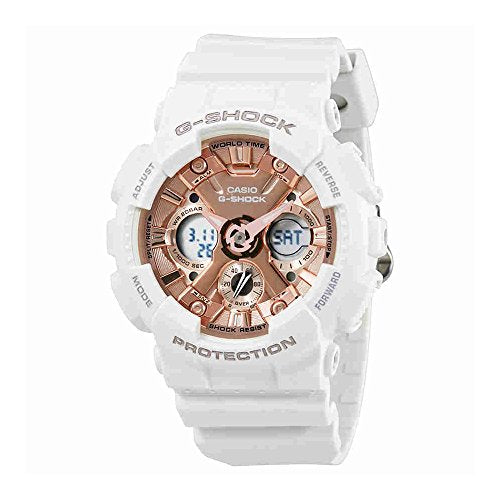 Casio Women's 'G Shock' Quartz Stainless Steel and Resin Casual Watch, Color:White (Model: GMA-S120MF-7A2CR)