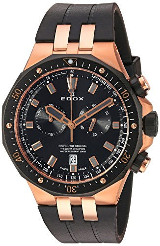 Edox Men's 'Delfin' Quartz Stainless Steel Dress Watch, Color:Brown (Model: 10109 357RNCA NIRG)