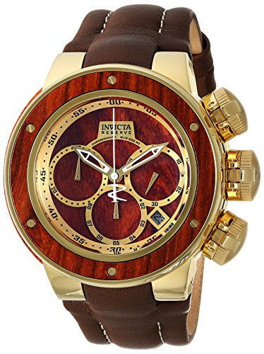Invicta Men's 'Reserve' Quartz Stainless Steel and Leather Casual Watch, Color:Brown (Model: 22942)