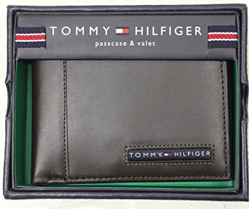 NEW TOMMY HILFIGER MEN'S PREMIUM LEATHER CREDIT CARD WALLET PASSCASE BILLFOLD