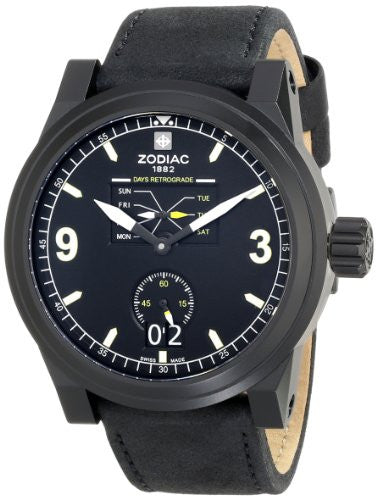 Zodiac ZMX Men's ZO8563 Aviator Stainless Steel Watch with Black Leather Band