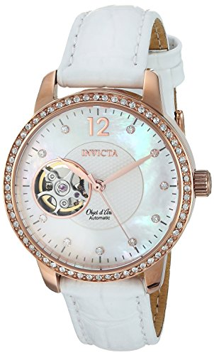Invicta Women's 'Objet D Art' Automatic Gold and Leather Casual Watch, Color:White (Model: 22622)