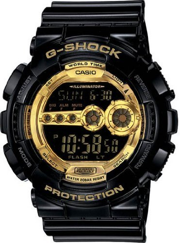 Men's Black Resin G-Shock Digital Strap Gold Tone