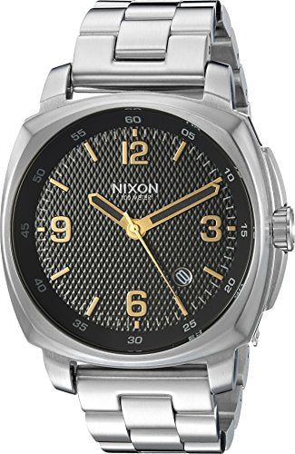 Nixon Unisex Charger Black Stamped/Gold Watch