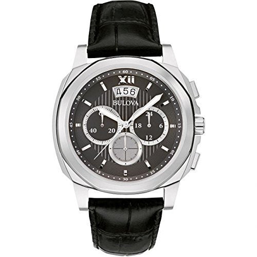 Bulova 96b218 Men's Grey Dial Black Leather Strap Chrono Watch