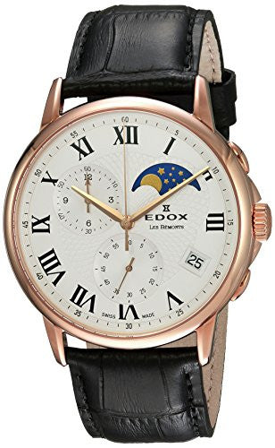 Edox Men's 'Les Bemonts' Swiss Quartz Stainless Steel and Leather Dress Watch, Color:Brown (Model: 01651 37R AR)